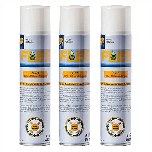 apotier24 Flee TM - 3 Dosen a 400 ml - Umgebungsspray gegen Flöhe, Hausstaubmilben und Allergene - von Tierarzt Dr. med. Vet. Stefan Knoop empfohlen