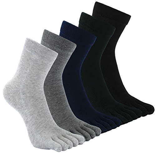 CaiDieNu Männer Baumwoll Sport laufende Herren Zehensocken Fünf Finger Anti Rutsch Besatzung Liner Socken, Eur 39-44