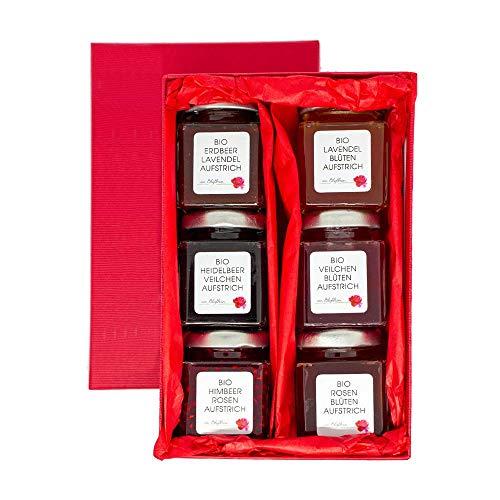 Bio Aufstrich Geschenkset mit Geschenkkarton 6 x 65 g zum Geburtstag - Brotaufstriche, Marmeladen, Konfitüre aus echten essbaren Blüten – Manufaktur von Blythen