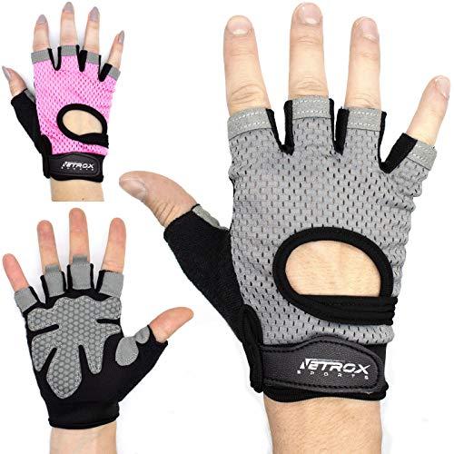 Crossfit Krafttraining Kraftsport Bodybuilding Fitnessstudio Studio Sport Gym Gloves für Mann Männer Herr Herren Dame Damen Frau Frauen Finger (grau, XL)
