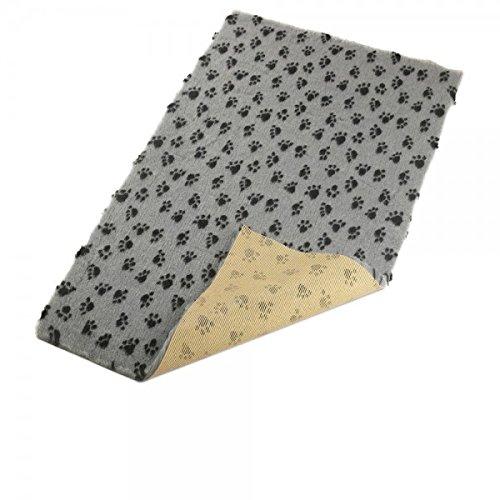 Hundedecke, Thermodecke Grau, Schwarze Pfötchen, waschbar, antirutsch, 100x75cm, 30mm