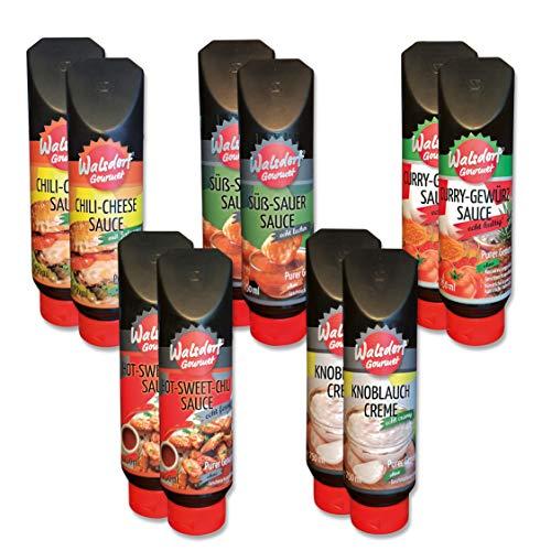 Walsdorf Gourmet Saucen – 5 Grillsaucen für das ideale Grillen - Geschenkidee / Geschenkset für Männer - 10er Set