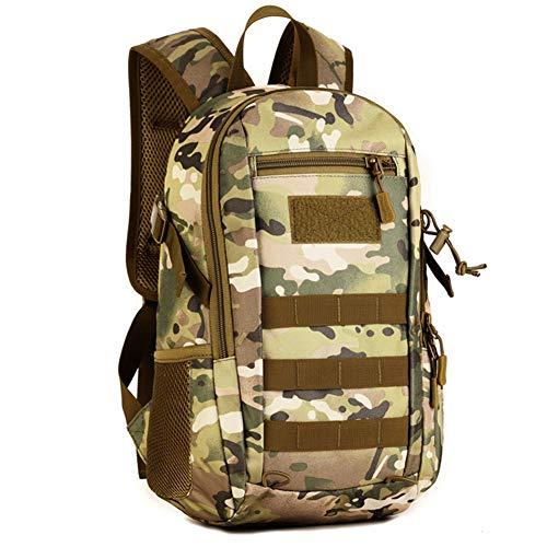 Huntvp 12L Rucksack Taktisch Wanderrucksack Molle Schultasche Wasserdicht Daypack Militärisch Schulrucksack Mini Studenttasche Unitasche Sporttasche Laptoptasche für Outdoor Sport - Grün Camouflage