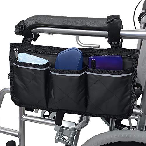 Namvo Rollstuhltasche mit Taschen - Universelle wasserdichte Armlehnen-Seitentasche für Elektrorollstuhl, Mobilit?tsroller, Gehgestell, Zubeh?r, Schwarz