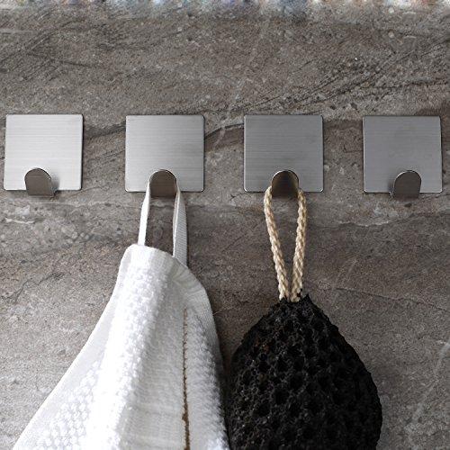 Ruicer Selbstklebend Handtuchhaken Kleiderhaken Ohne Bohren Bad und Küche Gebürstetes Edelstahl 4 STÜCK