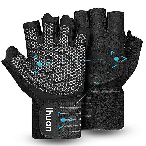 ihuan Belüftete Fitness Handschuhe mit Handgelenkband-Unterstützung für Herren und Frauen | Schwarze Trainingshandschuhe | kompletter Handflächenschutz für Gewichtheben, Training, Fitness, Klimmzüge