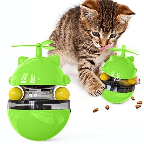 Interaktives Katzenspielzeug Intelligenz Rollball Futter-Spender - wojonifuiliy Interaktives Spielzeug für Katzen Hunde Haustier Tumbler Haustierfutter Katzenleckerli Slow Training Feeder (A-GN)