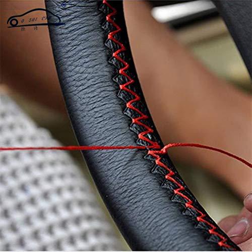 DIY Lenkradbezüge aus weichem Faserleder auf dem Lenkrad des Autos mit Nadel und Faden Innenzubehör Rot