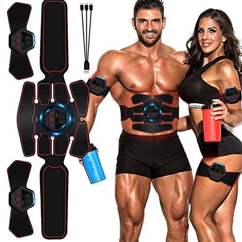 Moonssy Bauchmuskel-Gürtel, EMS Bauchmuskeltrainer, EMS Trainingsgerät LCD Bildschirm Muskelstimulation Elektrisch ABS Elektrische Muskelstimulator USB-wiederaufladbarer Tragbarer Muskel Trainer