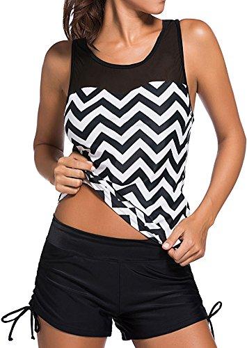 EUDOLAH Damen Mesh Bikini-Set Push up Tankini mit Hotpants verstellbare Bände Boyshorts Badeshorts (XL, A-Meereswelle)