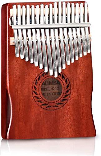 POMAIKAI 17-Tasten Kalimba Marimba Daumenklavier, Tragbares Fingerklavier aus Mbira Mahagoni Holz mit Zubehör für Kinder und Erwachsene Anfänger (rot)