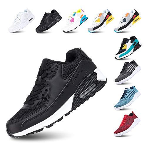 Laufschuhe Herren Damen Turnschuhe Licht Dämpfung Air Sportschuhe rutschfest Atmungsaktiv Fitness Sneakers E-SchwarzWeiss 44
