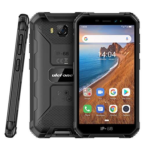 Outdoor Handys ohne Vertrag Günstig, Ulefone Armor X6 Smartphones Wasserdicht Android 9.0, 5.0 Zoll, 16GB ROM, 4000mAh, Quad-core IP68/IP69K, Stoßfest Staubdicht Face ID GPS - Schwarz