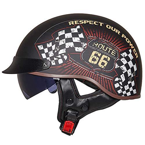 BOOM Harley Motorrad Helm Männer Frauen Retro HalbHelm Mit UV-Visier DOT/ECE-Zulassung für Roller Mofa Scooter-Helm Chopper,L