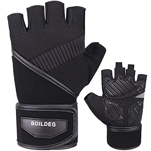 Boildeg Fitness Handschuhe, Trainingshandschuhe mit Handgelenkstütze und Palm Protection Atmungsaktive Sporthandschuhe Gewichtheben Handschuhe für Herren Damen Kraftsport & Crossfit Training
