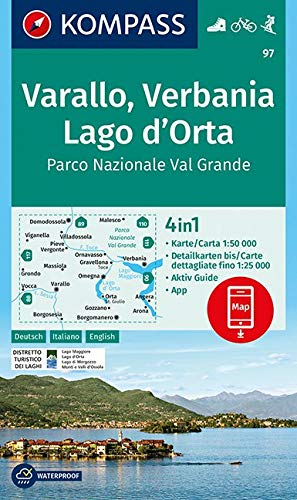 KOMPASS Wanderkarte Varallo, Verbania, Lago d'Orta, Parco Nazionale Val Grande: 4in1 Wanderkarte 1:50000 mit Aktiv Guide und Detailkarten inklusive ... Skitouren. (KOMPASS-Wanderkarten, Band 97)