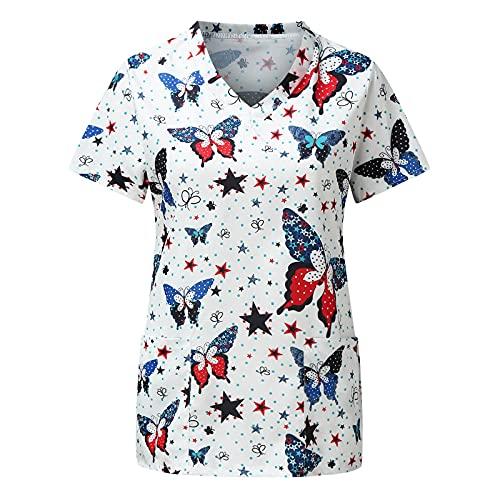 Xiangdanful Kasack Damen Pflege Einfarbig Bluse T-Shirt Schlupfkasack mit Taschen Kurzarm Rundhals Schlupfhemd Berufskleidung Krankenpfleger Zwei Taschen Uniformen Pflegebekleidung