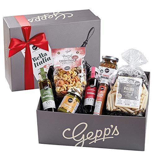Gepp's Feinkost Bella Italia Geschenkbox | Geschenkkorb gefüllt mit feinsten italienischen Delikatessen, hergestellt nach eigener Rezeptur | Gourmet-Geschenk für Männer und Frauen