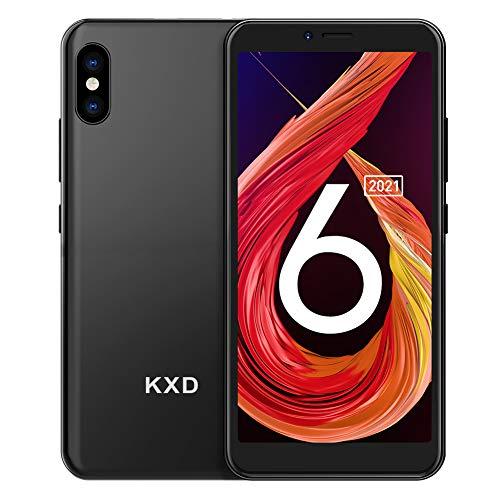 Smartphone ohne Vertrag KXD 6A Günstige 3G-Android-Smartphone 5,5-Zoll-Vollbild 8GB ROM (64GB Erweiterbar) Face ID 2500-mAh-Akku 5MP Kameras Dual SIM, Quad-Core, Schwarz