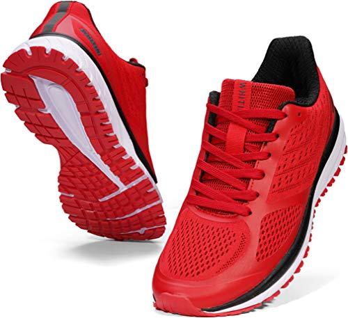 WHITIN Laufschuhe Herren Joggingschuhe Straßenlaufschuhe Turnschuhe Sportschuhe Gym Schuhe Walkingschuhe Fitnessschuhe Mesh Atmungsaktiv Hallenschuhe Bequem Schnürer Sommerschuhe Rot 42 EU