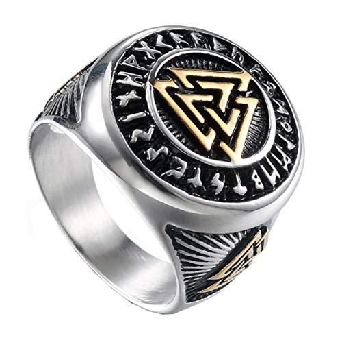 HIJONES Herren Valknut Nordischer Wikinger Odin Symbol Ring aus Edelstahl Krieger Motorradfahrer Signierter Ringe Silber Größe 70