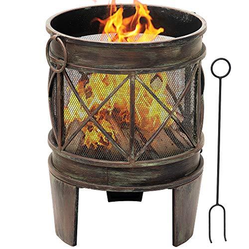 Amagabeli Feuerschalen für den Garten 58 x 42 cm Feuerkorb mit Funkenschutz & Griffen Garten Feuerstelle mit in Antik-Rost-Optik Garten Multifunktional Fire Pit für Grill Camping Hof Garten Terrasse
