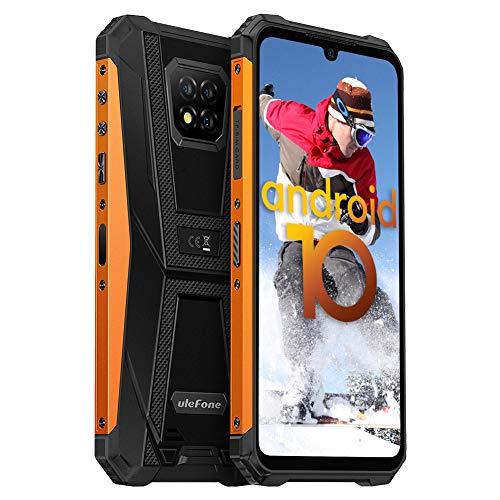 Ulefone Armor 8 Handys Wasserdicht Staubdicht Fallfester Android 10 AI Qcta-Core Prozessor 4GB+64GB 6,1-Zoll-Bildschirm 16+8MP Kameras(Marco Objektiv) Outdoor Smartphone ohne Vertrag 5800mAh, Orange