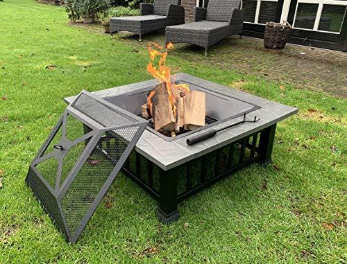 Feuerschale 80 cm XXL groß für den Garten mit funkenschutz und Grill Feuerstelle feuerkorb BBQ grillrost mit wasserfeste Schutzhülle
