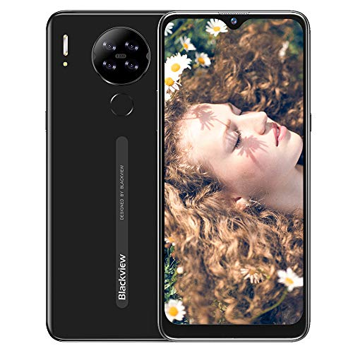 Blackview A80S (2021) Smartphone ohne Vertrag 4g, Octa-Core-Prozessor 4GB RAM + 64 GB, 6,21 Zoll HD+ Waterdrop Display, 13MP-Quad-Kamera, Großer 4200 mAh Akku, Android 10 Dual-SIM Handy - Schwarz