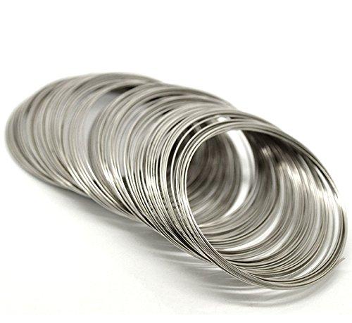 Memory Draht für Armbänder, 65 mm, 0,8 mm, silbern, 200 Umrundungen!!