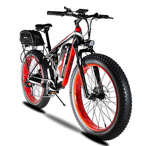 Extrbici XF800 26-Zoll-Fettreifen Elektrofahrrad 750 BaFang Motor 48V Männer und Frauen Mountainbike Fahrradpedalunterstützung, Lithiumbatterie Vollfederung hydraulische Scheibenbremse