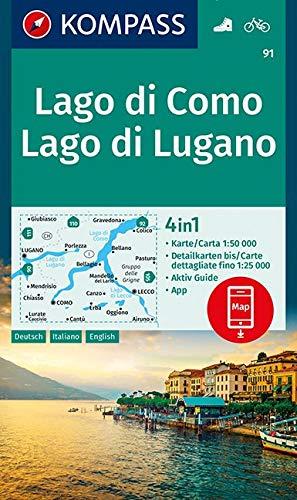 KOMPASS Wanderkarte Lago di Como, Lago di Lugano: 4in1 Wanderkarte 1:50000 mit Aktiv Guide und Detailkarten inklusive Karte zur offline Verwendung in ... (KOMPASS-Wanderkarten, Band 91)