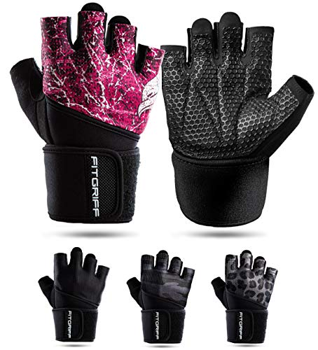 Fitgriff® Fitness Handschuhe V2, Trainingshandschuhe, Sporthandschuhe für Damen und Herren, Krafttraining, Kraftsport, Training, Sport, Gym, Workout Gloves (Pink, 7)