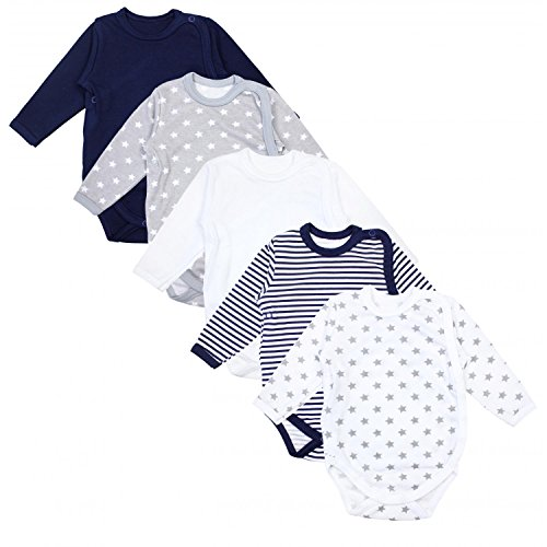 TupTam Baby Unisex Langarm Wickelbody Print/Uni 5er Pack, Farbe: Mehrfarbig, Größe: 56