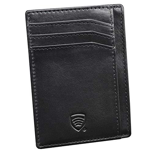 KORUMA RFID Blocker Mini Anzug Geldbeutel Geldbörse aus Echt Leder Herren | Slim NFC-Schutzhülle Kartenetui tüv geprüft - kleines Portmonee Portemonnaie Geschenk für Männer Schwarz