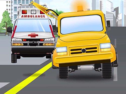 Tapferer Abschleppwagen und der Krankenwagen
