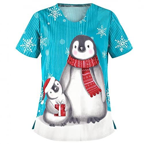 LuckyLucy Kasack Damen T-Shirts Bunt Pflege große größen mit Bunte Süßes Tier Motiv T-Shirt Schlupfkasack mit Taschen Kurzarm V-Ausschnitt Schlupfhemd Berufskleidung Krankenpfleger Uniformen Nurse