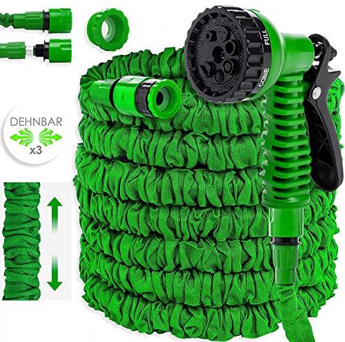 Kesser® Gartenschlauch 45m Flexibler Basic Wasserschlauch Flexible dehnbarer Flexischlauch Multisfunktionsbrause mit 8 Funktionen, Adapter inkulsive passend für jeden Wasserhahn mit Gewinde, Grün