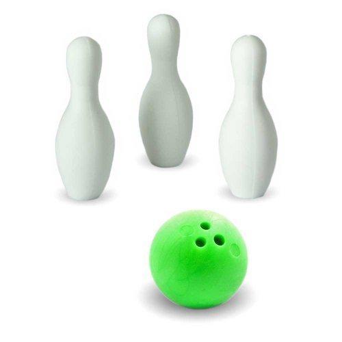 Iwako Puzzle Radiergummi zum Sammeln Bowling Kugel 3 Bowling Kegel Pins und Sticker grün
