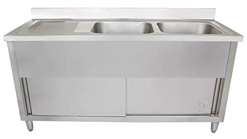 Beeketal 'GSB180-Duo' Edelstahl Spülschrank mit 2 Spülbecken (rechts) und Abtropffläche (links), Unterschrank mit Rollentüren, Aufkantung und justierbaren Stellfüßen, (B/T/H): ca. 1800 x 600 x 940 mm
