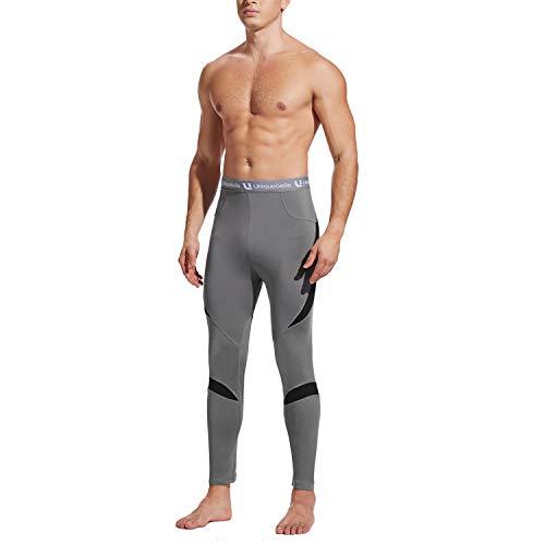 UNIQUEBELLA Thermounterwäsche Unterhose, Funktions Herren Funktionswäsche Skiunterwäsche Winter Suit Ski Thermo-Unterwäsche Thermowäsche Leggings (Grau, L)