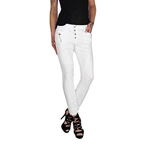Dresscode-Berlin DB Damen Baggy Boyfriend Jeans in blau, beige, weiß, Khaki und grau (L / 40, Weiß)