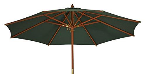 """Großer Sonnenschirm """"Sunshine"""" ø 300cm ( 3,0 Meter ) ✓ Grüner Strand-Schirm mit hohem UV-Schutz 50+ ✓ Windauslass ermöglicht stabilen Einsatz als Markt-Schirm, Balkon & Garten-Schirm, Schattenspender"""