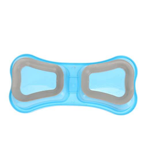 Toporchid rutschfeste Kunststoff Pet Doppel Schüssel Hundenapf Feeder Katze Schalen Für Lebensmittelbehälter Mit Saugnapf (Blau)