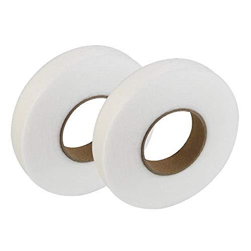 LYTIVAGEN 2 Rolle Saumband, Bügelband 70Yards, Bügelsaumband Weiß zum aufbügeln oder nähen für Kleidung, Gardinen, Vorhänge und andere Textilien(Breit 2 cm)