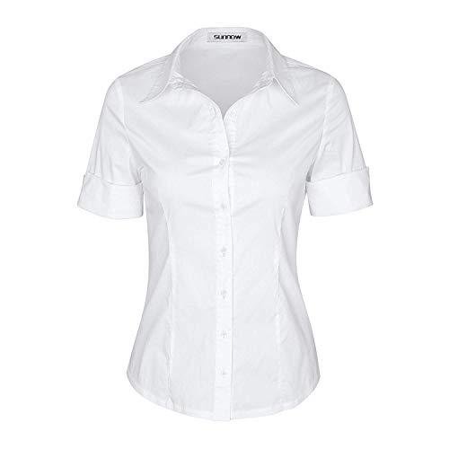 SUNNOW Damen Shirt Kurzarm Revers Schlank Hemd V-Ausschnitt mit Knöpfe Oberteil Bluse SommerGr.- EU 36/ S, Weiß)