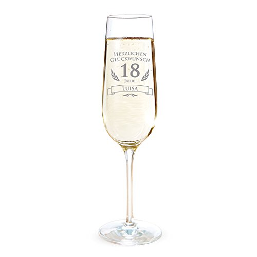 AMAVEL Sektglas mit Gravur zum 18. Geburtstag - Personalisiert mit [Namen] - Sektflöte als Geburtstagsgeschenk - Geschenkidee für Frauen - Glas für Sekt, Champagner und Prosecco - Sektkelch