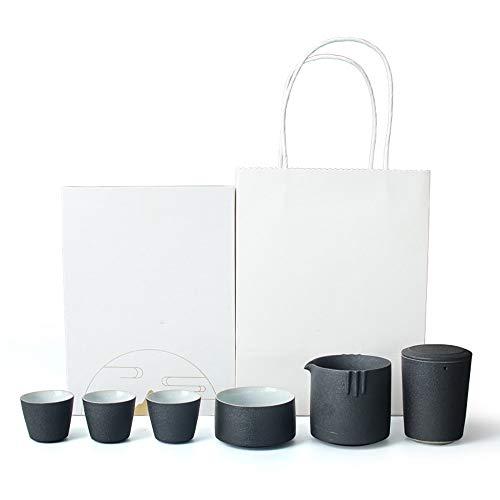 Tee-Sets Keramik-japanische Art Teekanne Geschenkkarton Verpackung One Pot Drei Cup Verkehrsmittel Auto Tee-Set Tragbarer Business-Geschenk-Set 2 Farben für Haushalt ( Color : A , Size : Free )