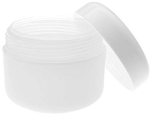 100 ml PP Tiegel, doppelwandig, halbtransparent, mit Plastikdeckel weiß. 10 Stück