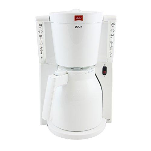 Melitta 1011-09, Filterkaffeemaschine mit Thermkanne, AromaSelector, Weiß Kaffeemaschine Look IV Therm, weiá, 1.2 liters